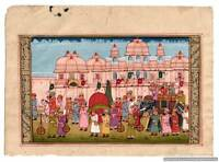 Indian Miniature Painting Mughal Maharaja Chariot Procession Hand Decor Painted