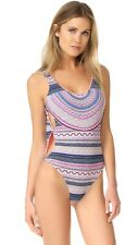 $185 Red Carter X-SMALL Coral Reef Knotted Side Boho Festival One Piece Swimsuit