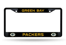 Green Bay Packers Authentic Metal BLACK License Plate Frame Auto Truck Car NWT