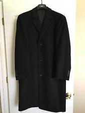 CHAPS RALPH LAUREN MENS BLACK WOOL/CASHMERE LONG LINED COAT WITH BUTTON FRONT