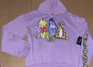 DISNEY WINNIE THE POOH CROPPED JUNIORS HOODIE SIZE S M XL NEW
