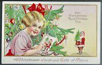 Christmas -Cute~Little Girl Painting Santa Claus~Antique Postcard~a951