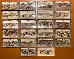 Set Of 22 Antique 1901 Boer War Stereoview Cards 21 Underwood British & 1 Boer