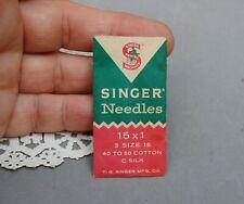 2 Singer Sewing Machine Needles Vintage Package Size 16 40-50 Cotton C Silk 15x1