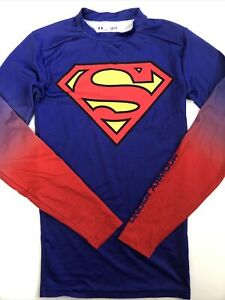Under Armour mens Alter Ego SUPERMAN Compression Long Sleeve Shirt S blue red