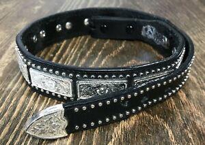 VTG Nocona girls Kids leather Black Floral Concho Belt Western Rodeo Cowgirl 28