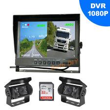 "2x HD 1080P 4Pin Reverse Backup Camera 18LED + 9"" DVR Monitor Car Rear View Kit"