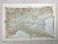 1899 Mappa Antica Di Italia Del Nord Bologna Parma 19th Secolo Originale