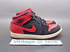 Girls Nike Air Jordan I 1 Phat Black Siren Red White PS 2012 sz 12C