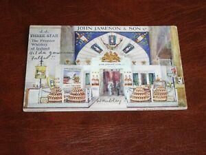 ORIGINAL CHARLES FLOWER SIGNED TUCK ADVERTISING POSTCARD - JOHN JAMESON & SON.