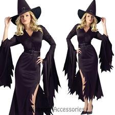 C815 Womens Black Gothic Witch Halloween Fancy Dress Adult Costume S/M M/L Plus