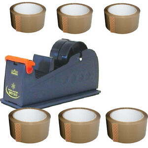 1 X Home Office Packing DESKTOP DISPENSER & 6 X STRONG ADHESION BROWN TAPE ROLLS