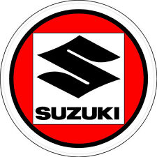 #674 (1) Suzuki Vintage Round Laminated Reproduction Decal Sticker RED S