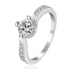 Silver Plated Wave middle zircon bridal engagement ring 17.5 mm size O FR257