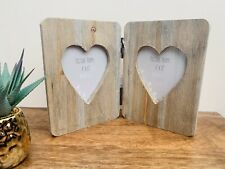 "Driftwood Double Heart Frame, Holds 2 x 4x6"" Photos, New Home Gift, Valentines"