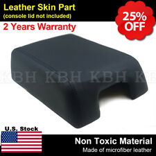 Leather Armrest Center Console Lid Cover Fit 04-08 F150 Lariat Bucket Seat Black