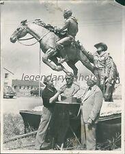 1952 Finishing Touches on Pony Express Monument Original News Service Photo
