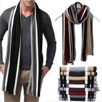 Mens Gent Cashmere Winter Warmer Fringe Tassels Striped Wrap Neck Classic Scarf