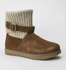 Patternless Suede Textile Boots for Women
