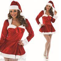 Ladies Sexy Christmas Mrs Claus Santa Fancy Dress Costume Outfit 8-22 Plus Size
