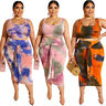 Womens Plus Size Clubwear Crop Tops Midi Skirt 2PCS Set Bodycon Dress Sleeveless