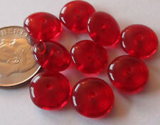 50 Vintage Czech Glass 9.5mm Red Translucent Rondelle Spacer Beads (3mm thick)