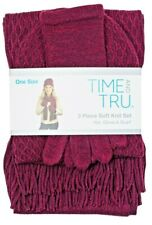 Time and Tru 3 piece soft knit set Burgundy Hat Beanie, Glove, and Scarf