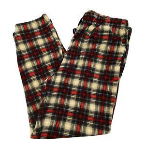 Nautica Men's Pajama Pant Fleece Sueded Loungewear Tan Plaid Xmas PJs Size Large