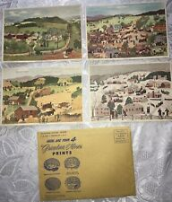 Vintage Grandma Moses Art Prints in Original Mailer 4 Different 7x5 Mail Order