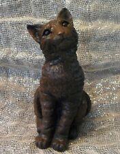 "13"" Cement CAT STATUE Concrete Brown Tiger Striped Garden LIFE SIZE Pet Animal"