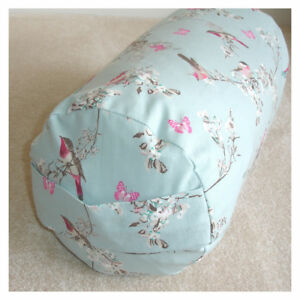Yoga Bolster COVER ONLY Birds Butterflies Blue Cylinder Cushion Round 24x9