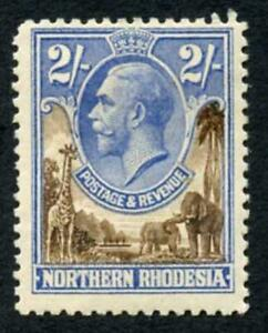 Northern Rhodesia SG11 2/- Brown and Ultramarine M/M cat 32 pounds