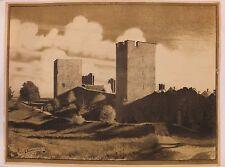 Mur Nord des remparts de Visby en Suède, lithographie de Louis SPARRE, 1911