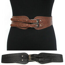 WOMEN ELASTIC Leather BUCKLE Hip WAIST WIDE BELT Stretch Vintage Western Fashion