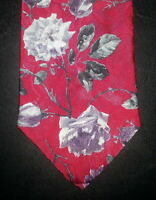 Ketch Classics Tie Polyester Floral Design Red Gray Purple Flowers NIB t2158