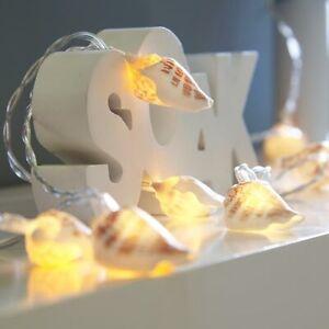 1.5m Battery Nautical REAL Sea Shell LED Fairy String Lights | Bedroom Bathroom