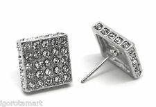 1 Piece Large Stud Bling Jewelry Crystal CZ Big Square Silver Tone Earring 12mm