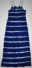 Mango Casual Dark Blue Tie-Dye Maxi Dress Spaghetti Straps Size XS (Runs Big)