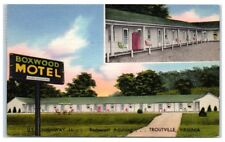 "1954 Boxwood Motel, Troutville, VA Postcard ""Tiled Showers...Cross Ventilation"""