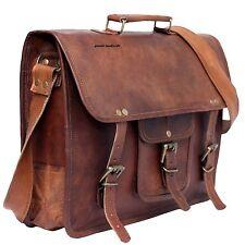 New Big Messenger Bag Men's Genuine Brown Leather Shoulder Laptop Briefcase