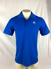 Sony Playstation PS Embroidered Logo Blue Casual Polo Shirt Mens SMALL Polyester
