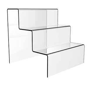 3 Step Acrylic Display Stand Clear Perspex Retail Shop Tier Nail Varnish Riser