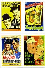 LAUREL & HARDY FILM ADVERT POSTCARDS X 4 ALL MINT UNUSED AS SCAN (h)