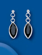 Sterling Silver Black Small Marquise Shaped Cubic Zirconia Drops BP6505
