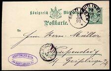 ENTIER POSTALE WURTTEMBERG REUTI INGEN 1891