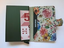 SECRID MINIWALLET Pistachio Floral Compact Leather Credit Card Holder Handmade