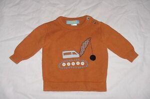 EUC Gymboree Boys CONSTRUCTION ZONE Orange Wrecking Ball Sweater 6-12 M