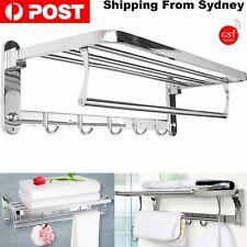 304 Stainless Steel Double Towel Rail Rack Shelf Wall Mounted Bathroom 5 Hook AU