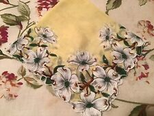 Vintage Yellow Hankie White Apple Blossoms