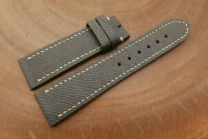22mm/20mm Gray Genuine EPSOM CALF Leather Watch Strap Band